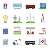 Energy icons, illustration