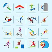 Extreme sports icons, illustration