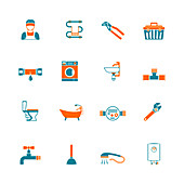 Plumbing icons, illustration