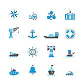 Nautical icons, illustration