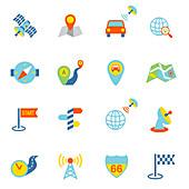 Navigation icons, illustration