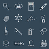 Law and order icons, illustration