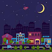 City street at night, illustration