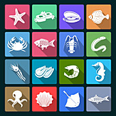 Seafood icons, illustration