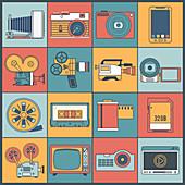 Multimedia icons, illustration