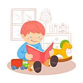 Boy reading book, illustration
