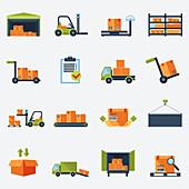 Warehouse icons, illustration
