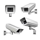 Surveillance cameras, illustration