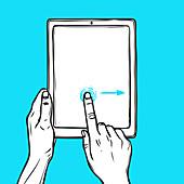 Touchscreen hand gesture, illustration