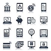 Mobile banking icons, illustration