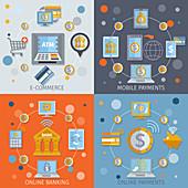 Mobile banking, illustration
