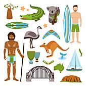 Australian icons, illustration