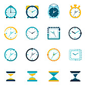 Clock and timer icons, illustration