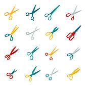 Scissor icons, illustration