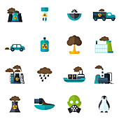Pollution icons, illustration