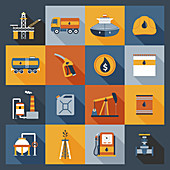 Oil industry icons, illustration