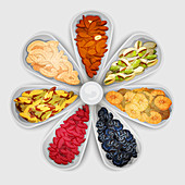 Nuts and dried fruit, illustration