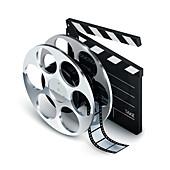 Film reel and clapperboard, illustration