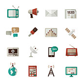 News media icons, illustration