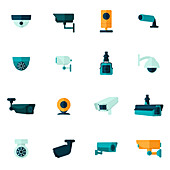 Security camera icons, illustration