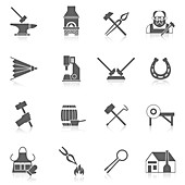 Blacksmith icons, illustration