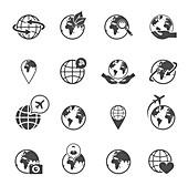 Global icons, illustration