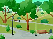 Park in summer, illustration