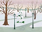 Park in winter, illustration