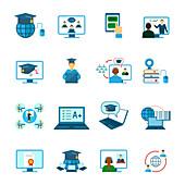 Online education icons, illustration