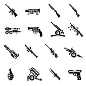 Weapon icons, illustration