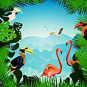 Exotic birds, illustration