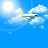 Aeroplane in flight, illustration