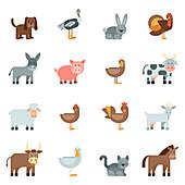 Animal icons, illustration