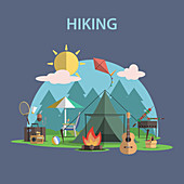 Hiking, illustration