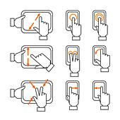 Touchscreen hand gestures, illustration