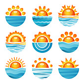 Sun and sea icons, illustration