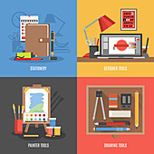 Art and design tools, illustration