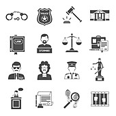Law and justice icons, illustration