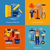 House renovation, illustration
