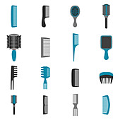 Comb and brush icons, illustration