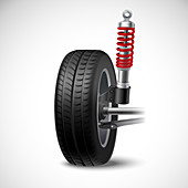 Car suspension, illustration