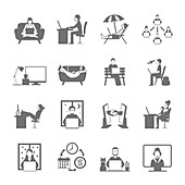 Remote working icons, illustration