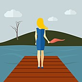 Woman on lake pier, illustration