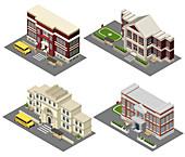 School building, illustration