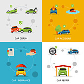Car accident, illustration