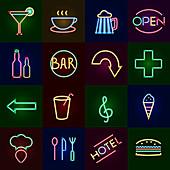 Neon sign icons, illustration