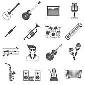 Music icons, illustration