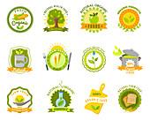Organic food labels, illustration