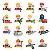 Construction avatars, illustration