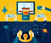 Gaming, illustration